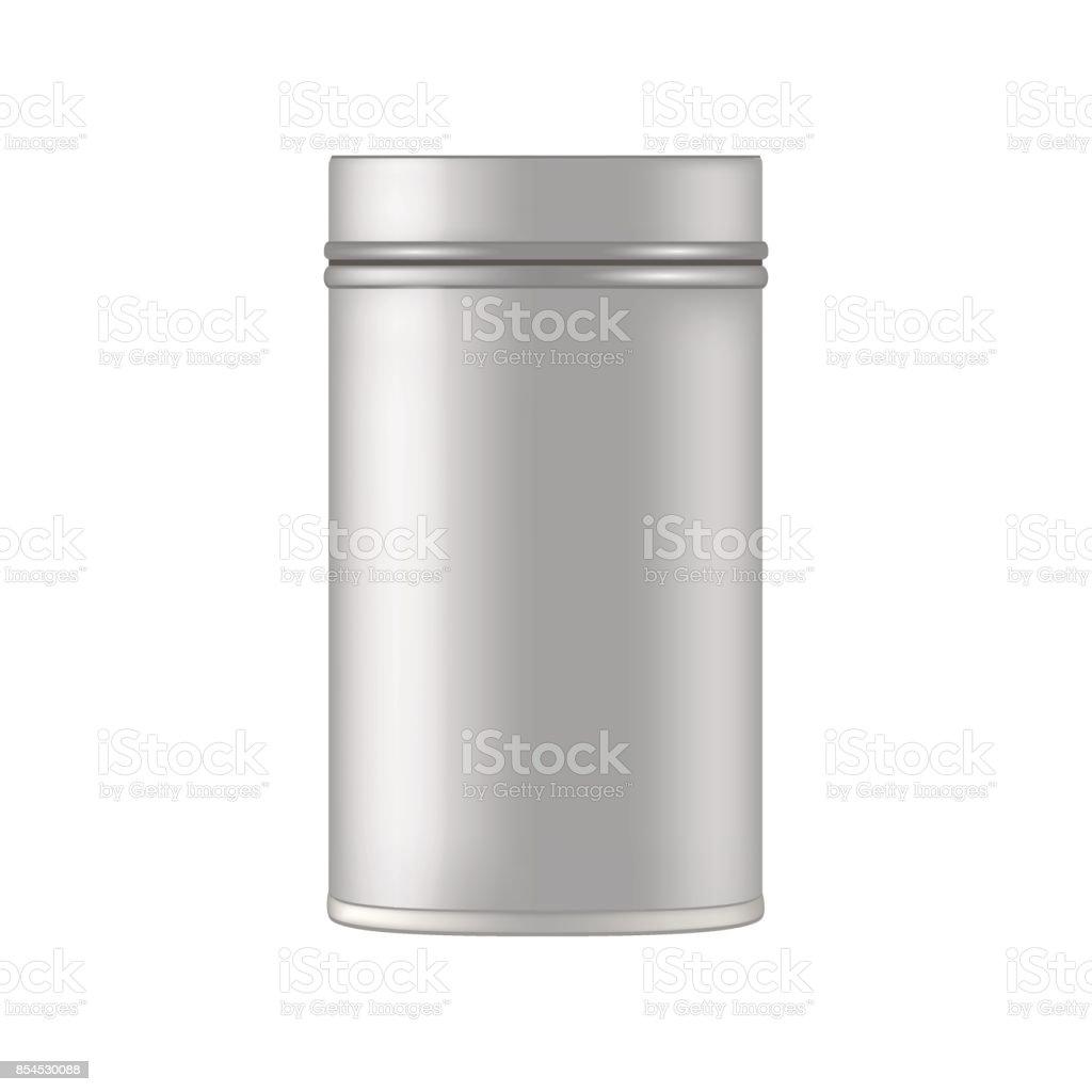 Metall kosmetische Glas für Pulver, Gel, Creme, Peeling. Vecto mockup – Vektorgrafik