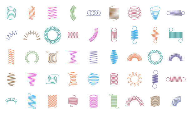 illustrazioni stock, clip art, cartoni animati e icone di tendenza di metal curved spring. wire springs, mechanical curved steel flexible coils, engineering motor spirals silhouette. metallic coils icons isolated vector set - molla