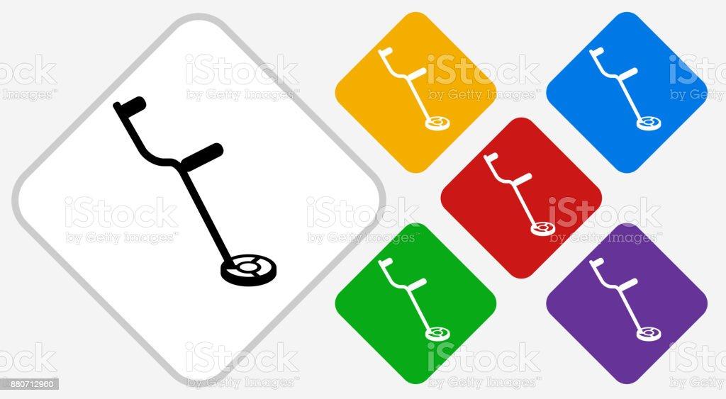 Metal Detector Color Diamond Vector Icon vector art illustration