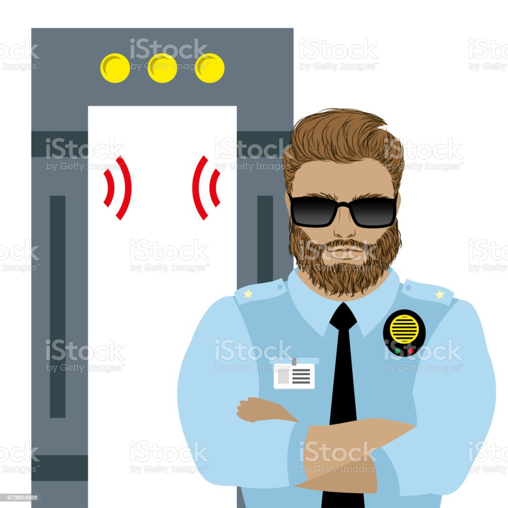 metal detector frame and male security guard, vector art illustration