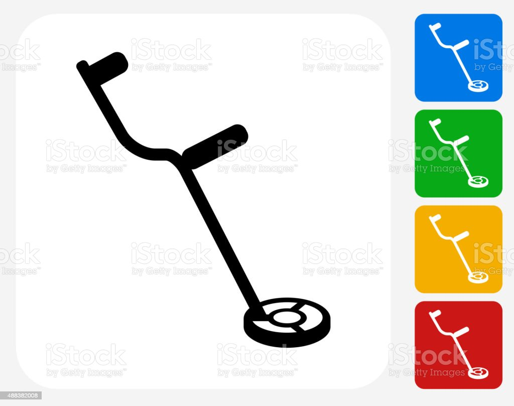 metal detector icon flat graphic design stock vector art