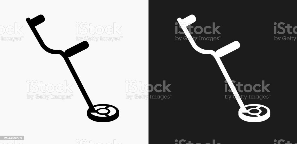 Metal Detector Icon on Black and White Vector Backgrounds vector art illustration