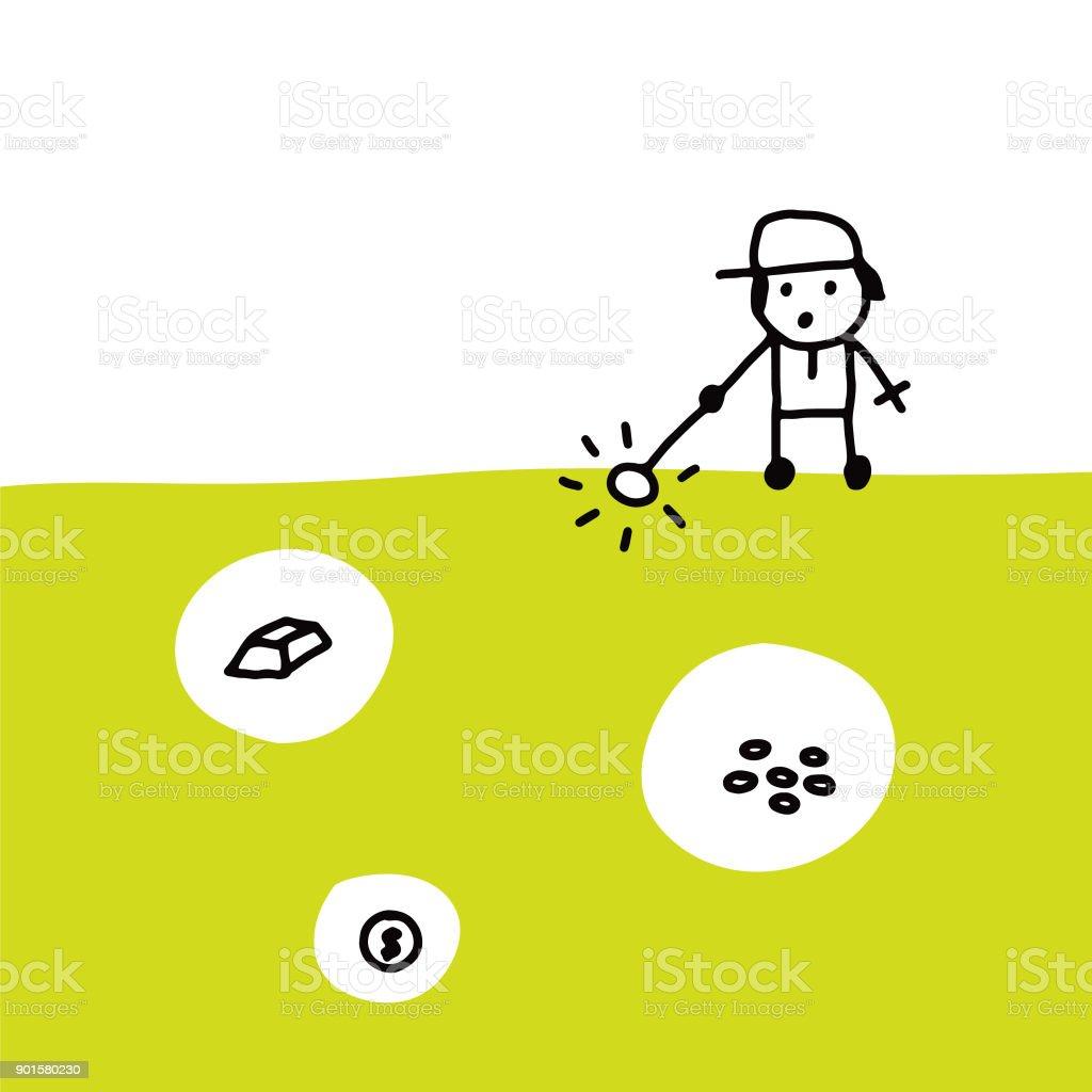 Metal detectorist vector art illustration