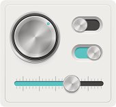 Set of the detailed UI elements – knob, switches, and slider