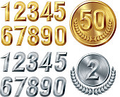 Set of gold and silver digits.