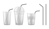 Metal drinking straw. Reusable steel straw cocktail equipment vector isolated set. Cocktail plastic cup for beverage with straw for drink illustration