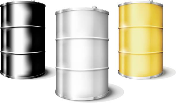 Metal drum barrels set Metal blank drum barrels set isolated on white background. EPS10 opacity oil drum stock illustrations