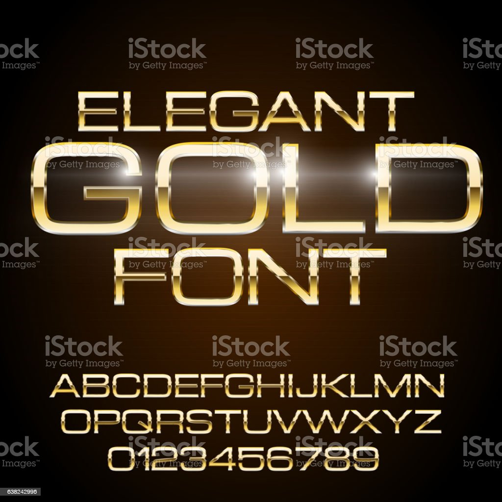 Metal Elegant Font vector art illustration