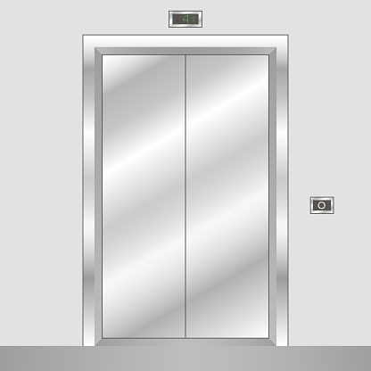 Metal elevator with closed doors. Realistic office building lift. Vector