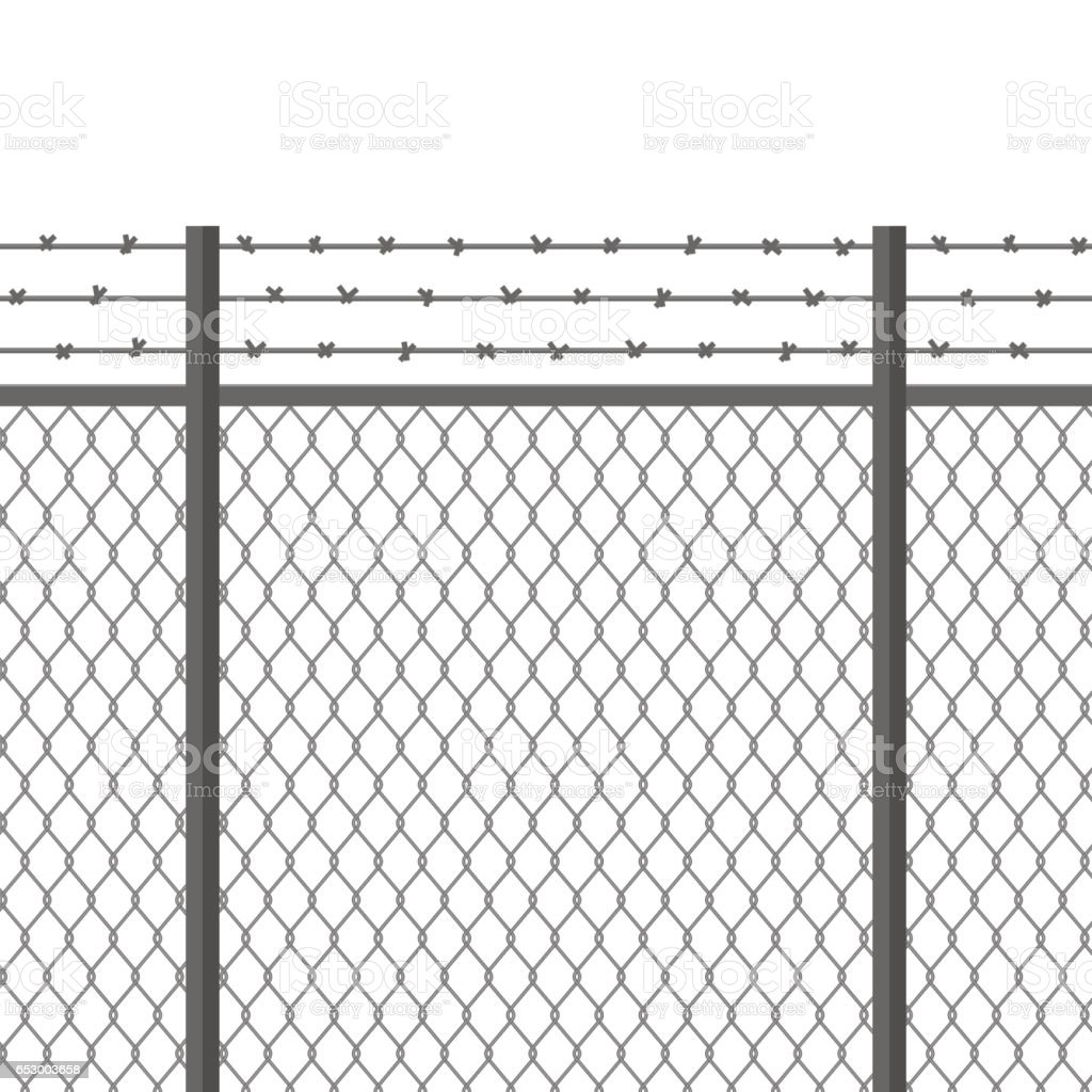Metal fence with barbed wire. Fortification, secured property, separation concept. Steel construction for danger areas vector art illustration