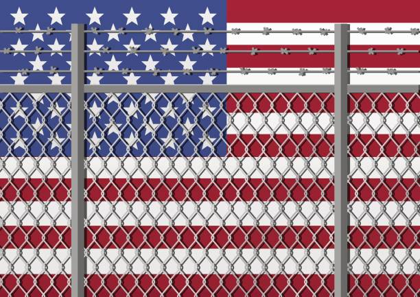 Metal fence with barbed wire on a USA flag. Separation concept, borders protection. Template for march against anti-immigration policies. Social issues on refugees or illegal immigrants. Metal fence with barbed wire on a USA flag. Separation concept, borders protection. Template for march against anti-immigration policies. Social issues on refugees or illegal immigrants. deportation stock illustrations