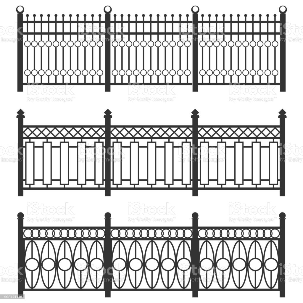 Picture of: Metal Fencegrid Forged Fence A Set Of Fences Made Of Black Grating Isolated Chain Linked Fences Metal Stock Illustration Download Image Now Istock