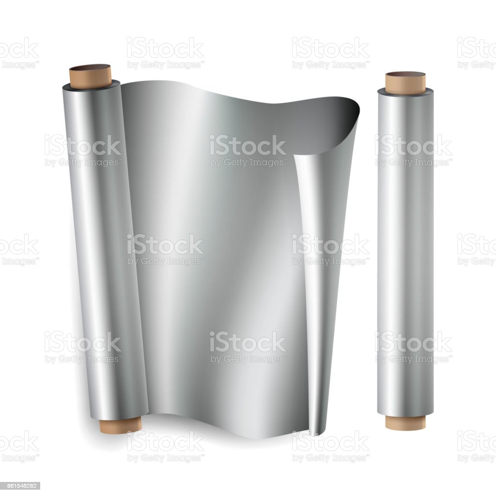 Metal Foil Paper Roll Vector. Close Up Top View. Opened And Closed. Realistic Illustration Isolated On White vector art illustration