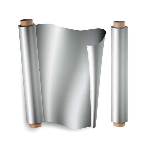 metal foil paper roll vector. close up top view. opened and closed. realistic illustration isolated on white - aluminum foil roll stock illustrations, clip art, cartoons, & icons