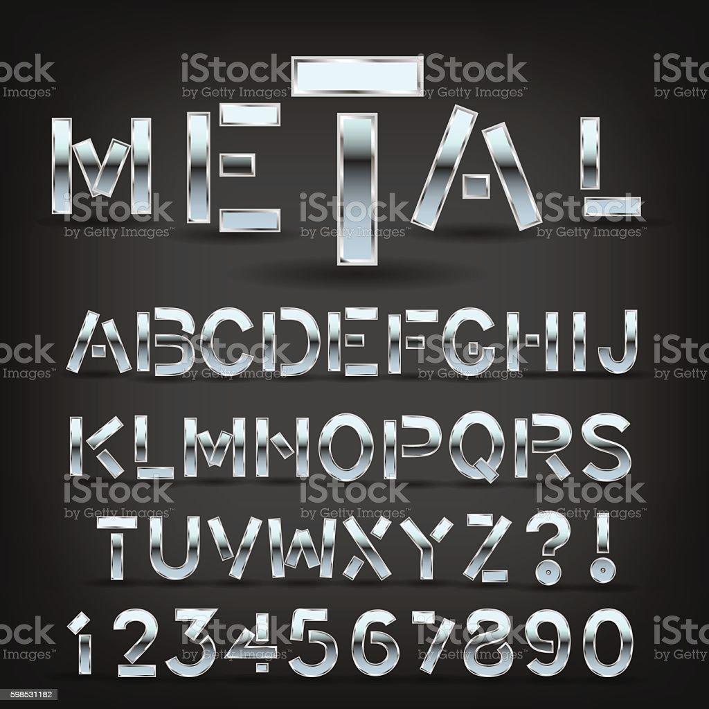 Metal font with shadow on black background. Vector. – Vektorgrafik
