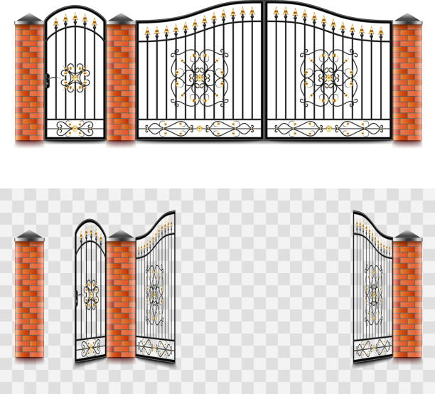 metal gates isolated vector metal gates open and close isolated on white vector illustration gate stock illustrations