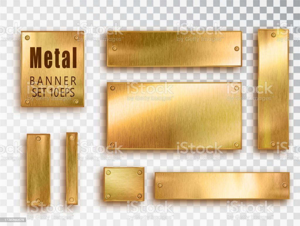 Metal gold banners set realistic. Vector Metal brushed plates with a...