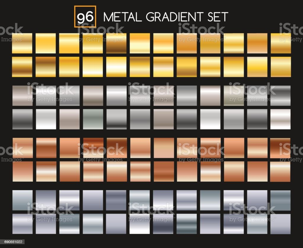 Metal gradient collection vector art illustration