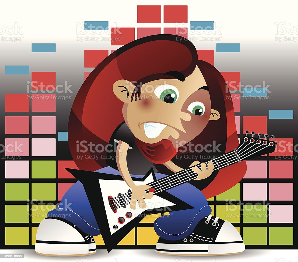 Metal head Guitar Player with Equalizer vector art illustration