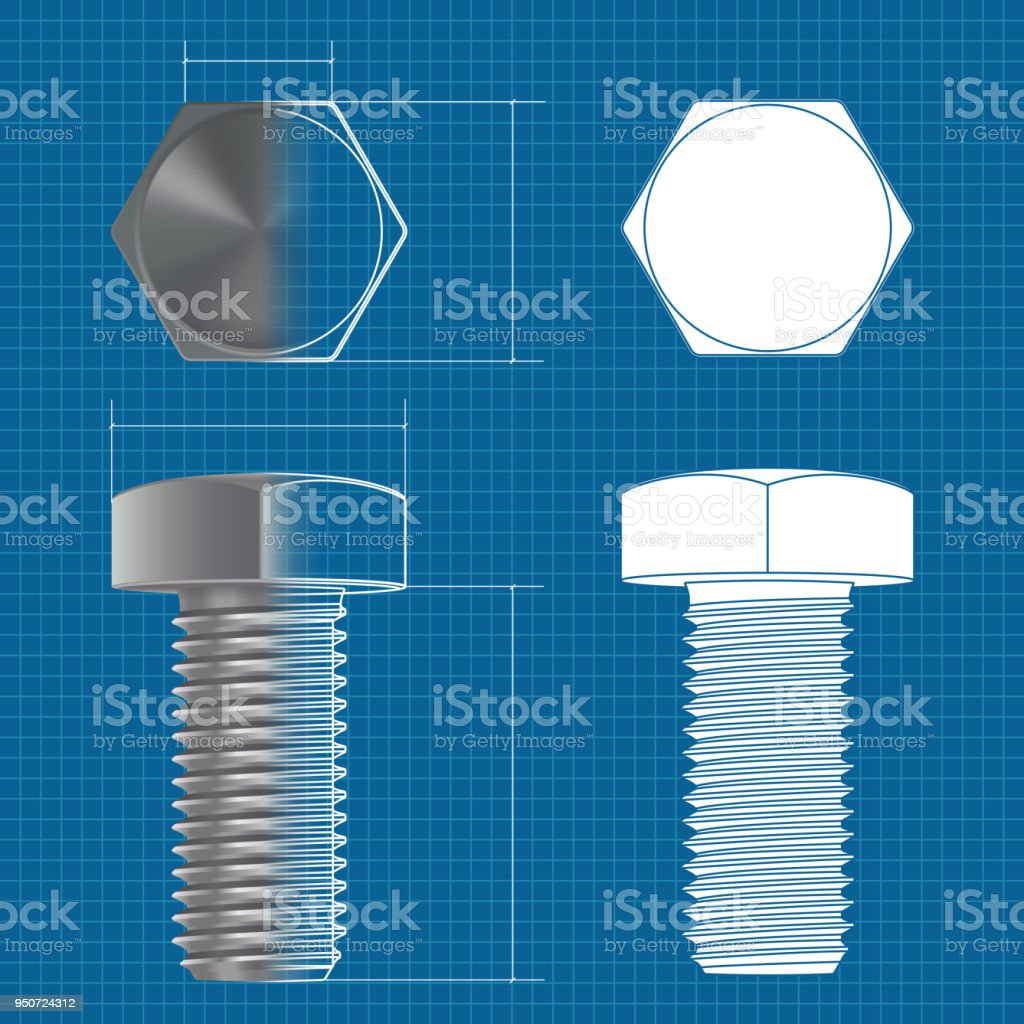 Metal hex bolt vector 3d illustration and flat white icon on metal hex bolt vector 3d illustration and flat white icon on blueprint background royalty malvernweather Choice Image