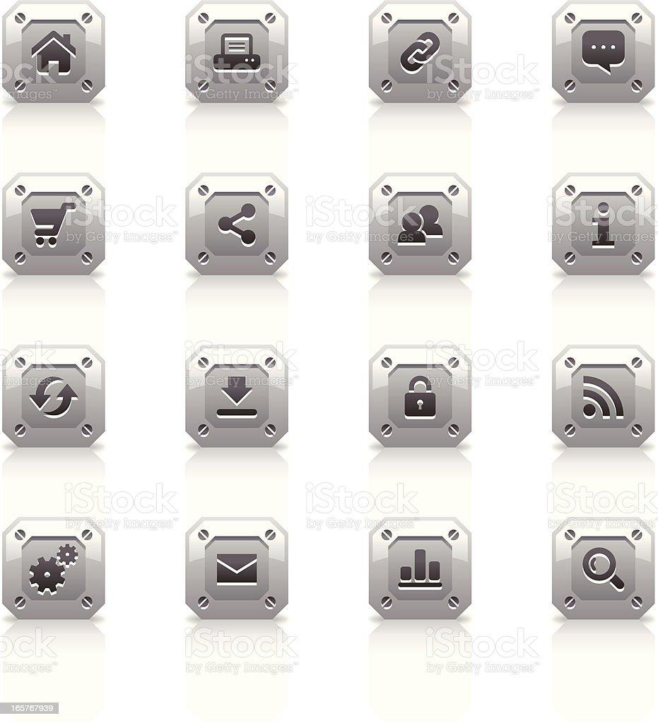 Metal Icons Set   Web royalty-free stock vector art
