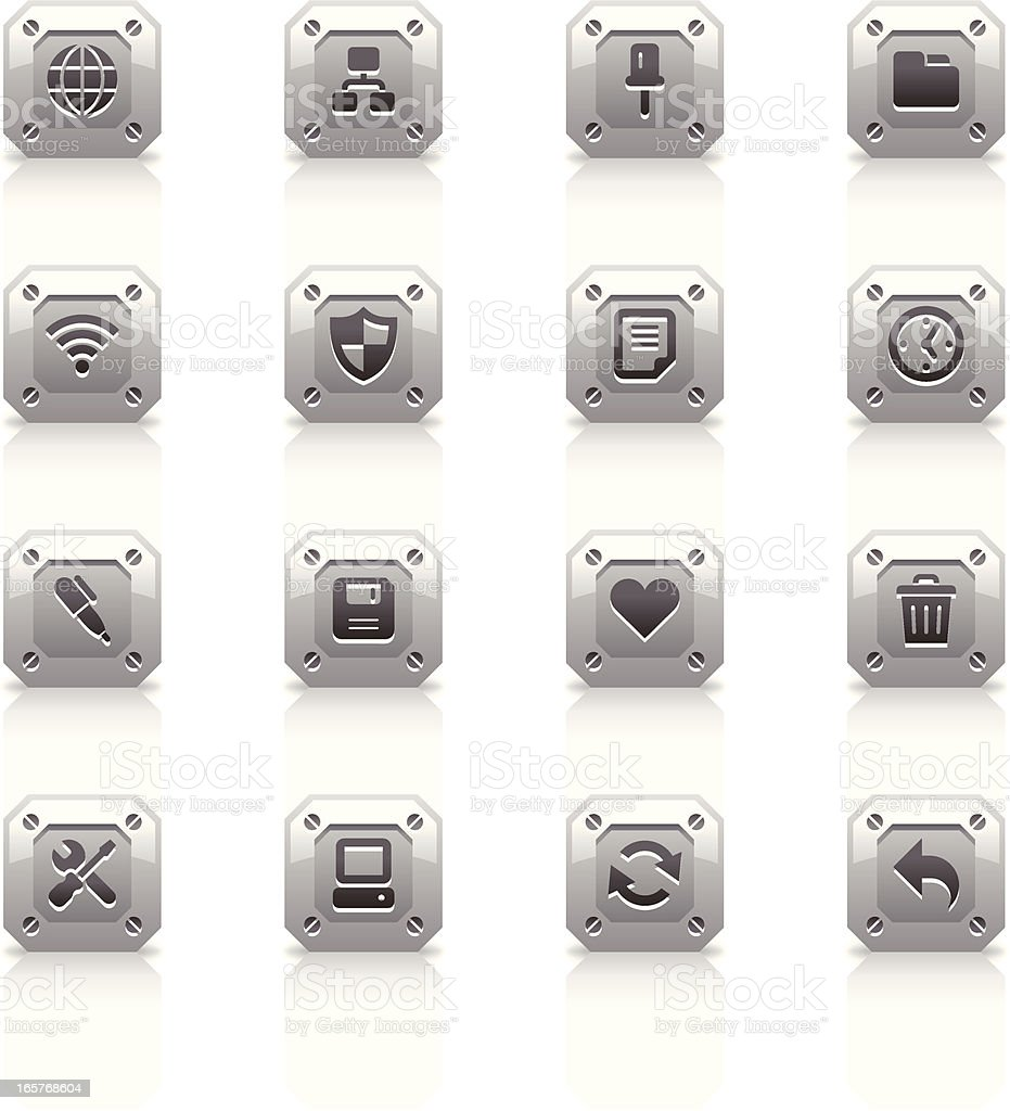Metal Icons Set | Web royalty-free stock vector art