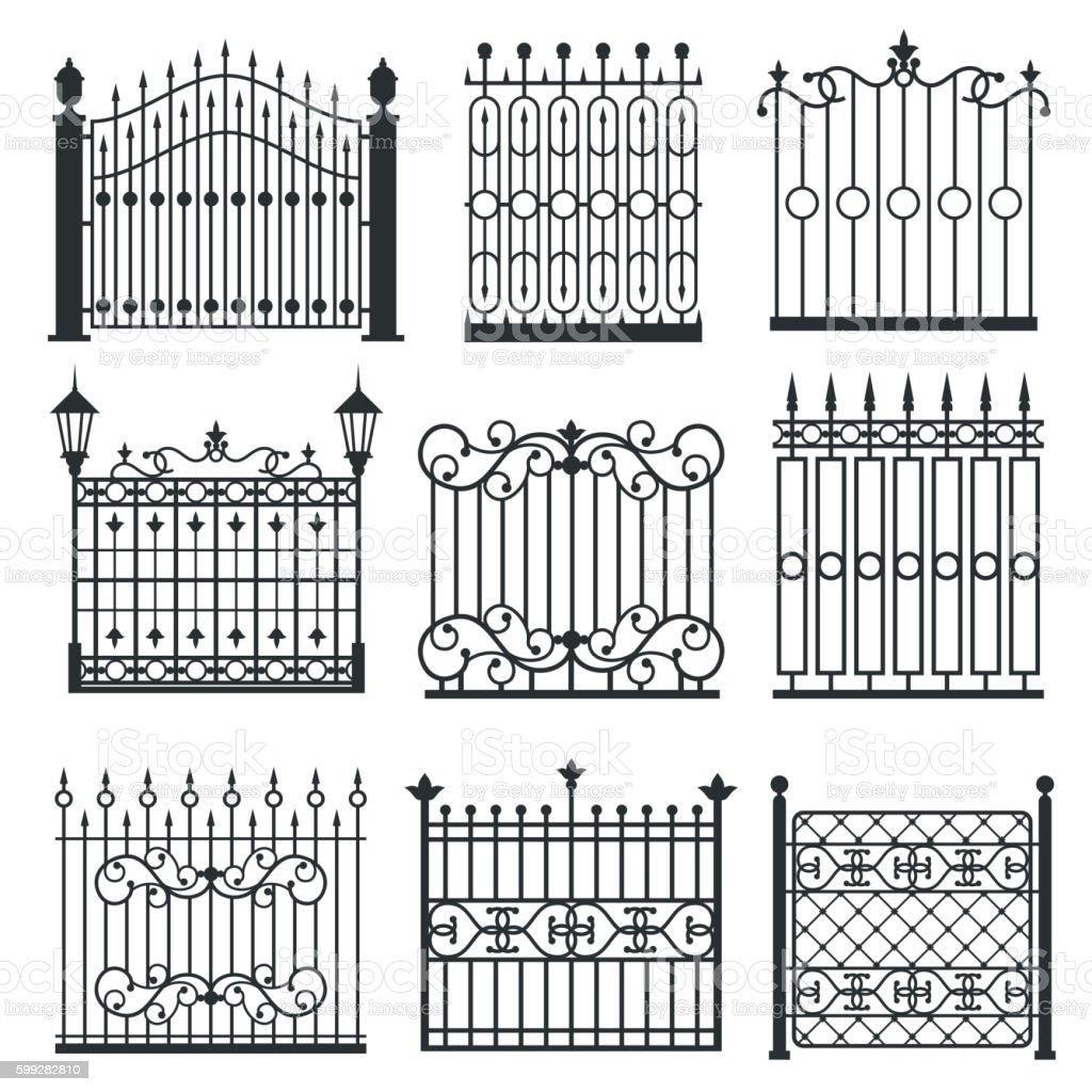 Metal iron gates, grilles, fences vector set vector art illustration