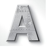 """Distressed Metal letter """"A"""". Elements are layered and labeled. Rivets, seams and textures are on separate layers and can be hidden if you prefer a clean, shiny brushed metal look. Download includes an XXXL JPEG version (16 in. x 16 in. at 300 dpi)."""