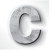 """Distressed Metal letter """"C"""". Elements are layered and labeled. Rivets, seams and textures are on separate layers and can be hidden if you prefer a clean, shiny brushed metal look. Download includes an XXXL JPEG version (16 in. x 16 in. at 300 dpi)."""