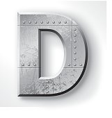 """Distressed Metal letter """"D"""". Elements are layered and labeled. Rivets, seams and textures are on separate layers and can be hidden if you prefer a clean, shiny brushed metal look. Download includes an XXXL JPEG version (16 in. x 16 in. at 300 dpi)."""