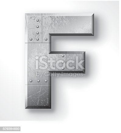 istock Metal Letter F 529384693