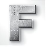 """Distressed Metal letter """"F"""". Elements are layered and labeled. Rivets, seams and textures are on separate layers and can be hidden if you prefer a clean, shiny brushed metal look. Download includes an XXXL JPEG version (16 in. x 16 in. at 300 dpi)."""