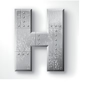 """Distressed Metal letter """"H"""". Elements are layered and labeled. Rivets, seams and textures are on separate layers and can be hidden if you prefer a clean, shiny brushed metal look. Download includes an XXXL JPEG version (16 in. x 16 in. at 300 dpi)."""
