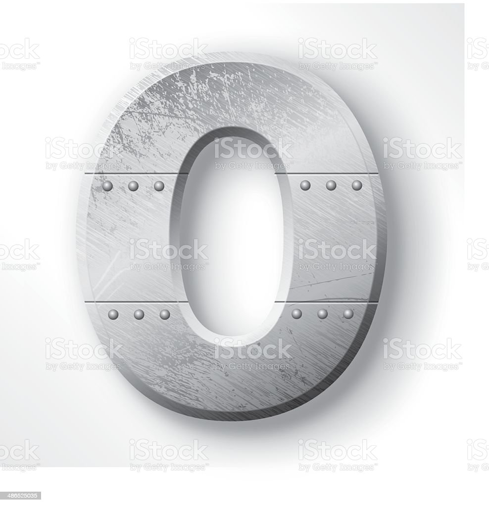 Metal Letter O vector art illustration