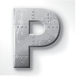 "Distressed Metal letter ""P"". Elements are layered and labeled. Rivets, seams and textures are on separate layers and can be hidden if you prefer a clean, shiny brushed metal look. Download includes an XXXL JPEG version (16 in. x 16 in. at 300 dpi)."