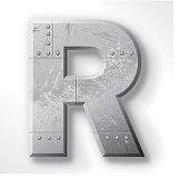 "Distressed Metal letter ""R"". Elements are layered and labeled. Rivets, seams and textures are on separate layers and can be hidden if you prefer a clean, shiny brushed metal look. Download includes an XXXL JPEG version (16 in. x 16 in. at 300 dpi)."
