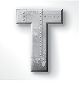"Distressed Metal letter ""T"". Elements are layered and labeled. Rivets, seams and textures are on separate layers and can be hidden if you prefer a clean, shiny brushed metal look. Download includes an XXXL JPEG version (16 in. x 16 in. at 300 dpi)."
