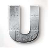"""Distressed Metal letter """"U"""". Elements are layered and labeled. Rivets, seams and textures are on separate layers and can be hidden if you prefer a clean, shiny brushed metal look. Download includes an XXXL JPEG version (16 in. x 16 in. at 300 dpi)."""