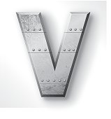 """Distressed Metal letter """"V"""". Elements are layered and labeled. Rivets, seams and textures are on separate layers and can be hidden if you prefer a clean, shiny brushed metal look. Download includes an XXXL JPEG version (16 in. x 16 in. at 300 dpi)."""