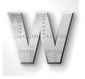"""Distressed Metal letter """"W"""". Elements are layered and labeled. Rivets, seams and textures are on separate layers and can be hidden if you prefer a clean, shiny brushed metal look. Download includes an XXXL JPEG version (16 in. x 16 in. at 300 dpi)."""