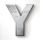 "Distressed Metal letter ""Y"". Elements are layered and labeled. Rivets, seams and textures are on separate layers and can be hidden if you prefer a clean, shiny brushed metal look. Download includes an XXXL JPEG version (16 in. x 16 in. at 300 dpi)."