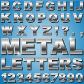 An Alphabet Sit of Shiny Metal Letters and Numbers. – vector EPS 10 , gradients and transparencies used.