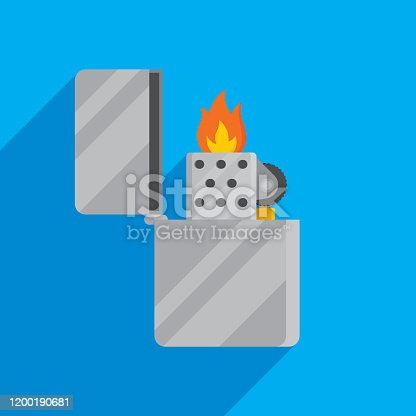Vector illustration of a metal lighter against a blue background in flat style.