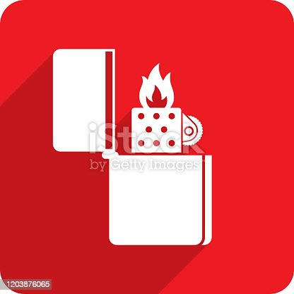 Vector illustration of a red metal lighter icon in flat style.