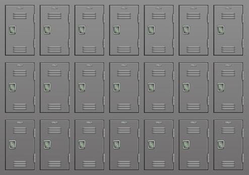 Metal lockers. Gym or school furniture