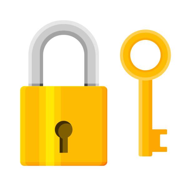 Metall-Vorhängeschloss mit Schlüssel. Pad-Schloss mit Schlüsselanhänger – Vektorgrafik
