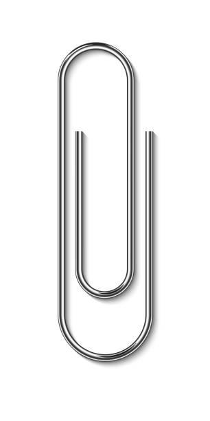 흰색 배경에 고립 된 금속 종이 클립 - 종이 클립 stock illustrations