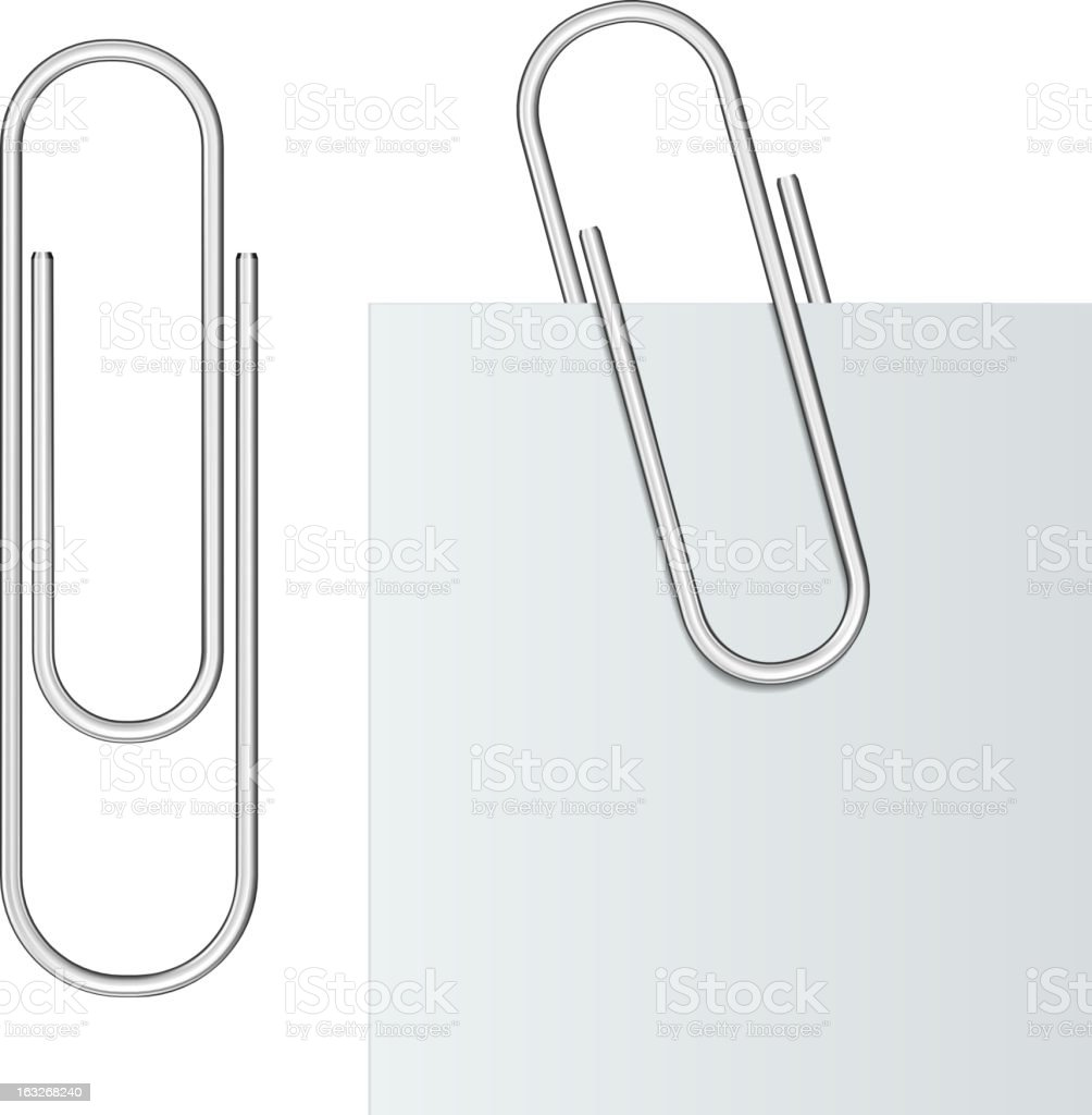 Metal paper clip vector art illustration