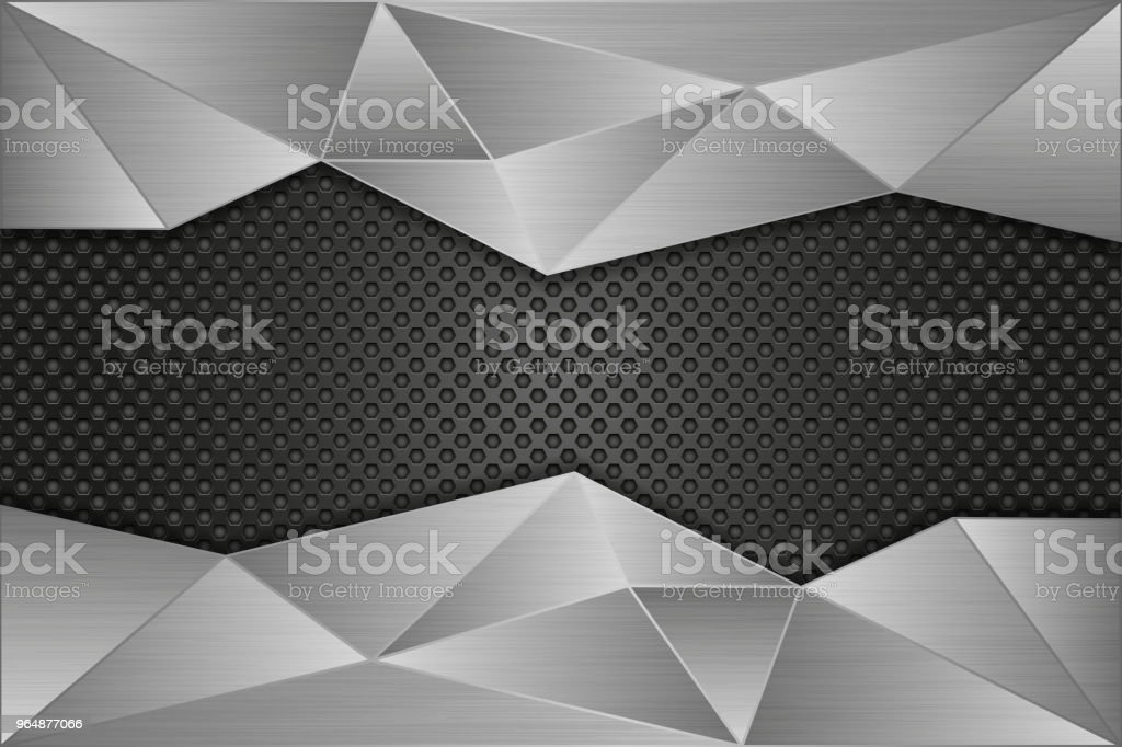 Metal perforated background with brushed metal polygonal elements royalty-free metal perforated background with brushed metal polygonal elements stock vector art & more images of abstract