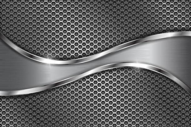 ilustrações, clipart, desenhos animados e ícones de metal fundo perfurado com onda de aço inoxidável - cromo metal